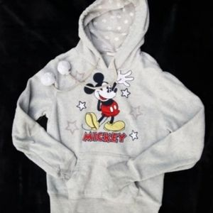 Disney Mickey Mouse Grey Hoodie Pullover, Small